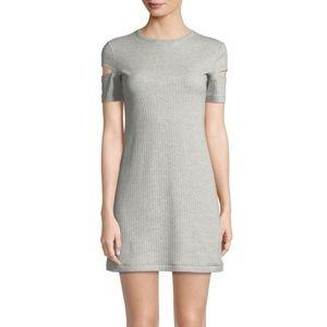 Helmut Lang Wide Rib Crewneck Cutout Sleeve Dress